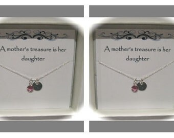 Two Sterling Silver Initial Birthstone Mother and Daughter Neclaces in matching gift boxes