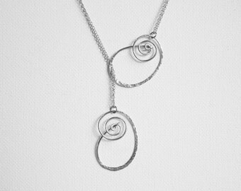 Silver Knot Necklace Knotted Necklace Hammered Silver Necklace Silver Lariat Necklace Long Necklace Hammered Necklace Large Necklace Swirl