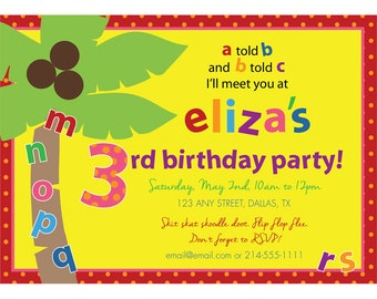 Chicka Chicka Boom Boom Birthday Party Invitation & Thank You Note