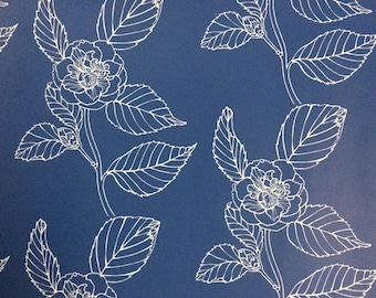 Wallpaper- Camelia self adhesive removeable wallpaper in dark blue with pale blue flowers.