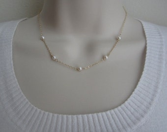 Pearl Choker Necklace. Sterling Silver. Gold Filled. Rose Gold. Tiny White Freshwater Pearl.Delicate Pearl Necklace.Layered Jewelry.Wedding.