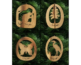 Oregon Myrtlewood Nature Christmas Ornament Set 2: Beaver, Tall Tree, Butterfly, Heron