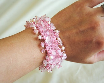 Pink and Pearl Fringe Bracelet