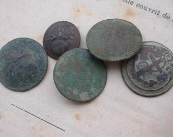 Lot 5pcs antique button 18th 19th century French antique bronze button military suit button army button France Paris