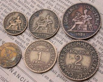 12PCS French old coins vintage coins 1920s to 1939s collectible art deco period coins vintage charm