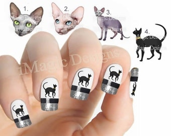 Nail Decals, Water Slide Nail Stickers, Graceful Sphynx Cat