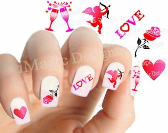 Valentine's Nail Decals, Water Slide Nail Stickers, Happy Valentine's!
