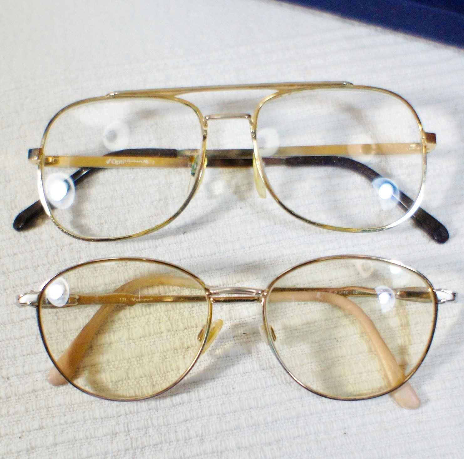 2 Pair vintage prescription eyeglasses Gold frames Men Women