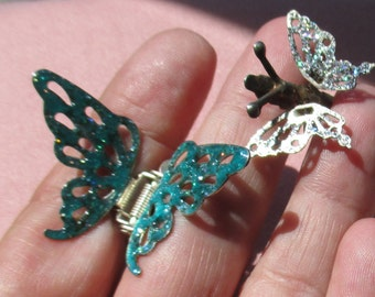 Lot Of Retro Glittery Butterfly Hair Clips