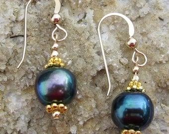 Blue freshwater pearl earrings