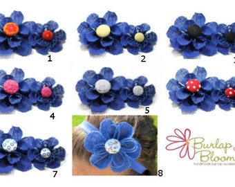 Blue Flower Hair Clip, Flower Hair Accessory - Available in a Brooch Pin, Snap Clip, Alligator Clip or Headband