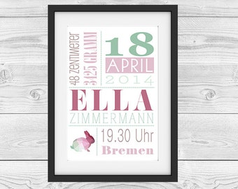 "Birth announcement personalized ""bunny"""