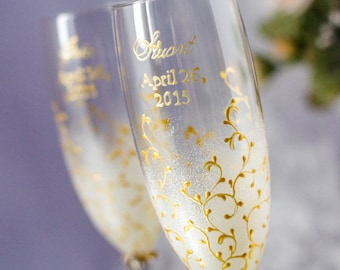 Personalized Wedding Champagne Glasses, Modern, Romantic, IVORY  GOLD, Painted toasting flutes, luxury traditional,2pcs /G3/4/13/7-0001