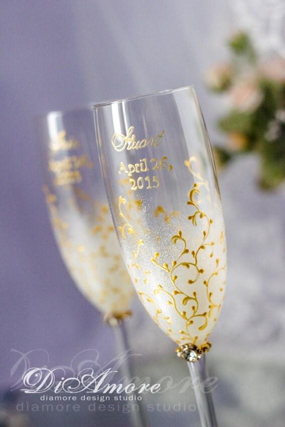 Printed Wedding Wine Glasses : Personalized Wedding Champagne Glasses Modern Romantic