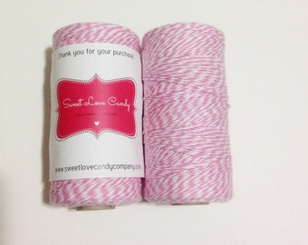 Full Spool Pink and White Bakers Twine- 240 yards