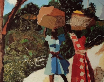 Caribbean Art, limited edition of offset litho of original collage, Haiti, A PETIONVILLE II by Ramona Candy