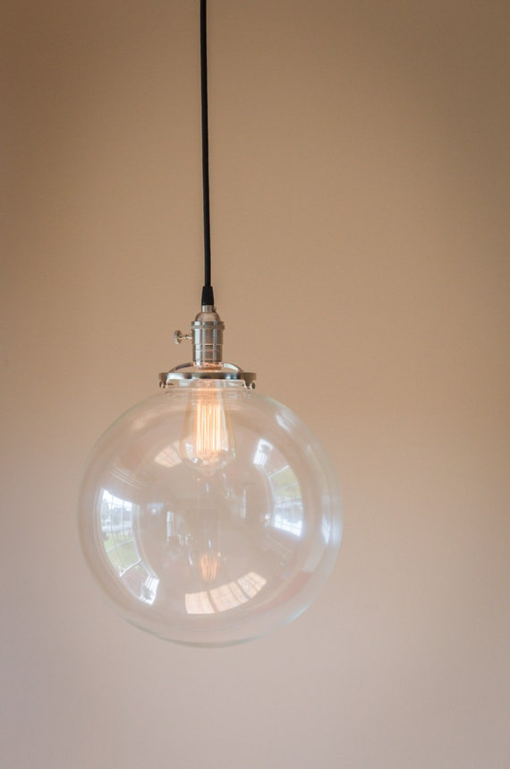 Pendant Light 12 Round Clear Glass Globe By OldeBrickLighting