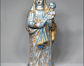 Rare 17thC Nevers French Faience Madonna & Child Large Devotional Figurine
