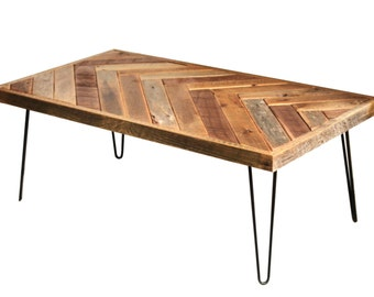Barn wood coffee table – Herringbone table – Hairpin legs – Chevron design accents – Reclaimed wood furniture – Rustic barnwood living room
