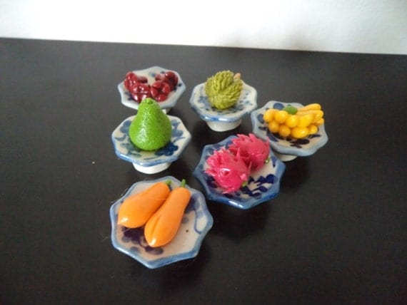 6 Assorted Ceramic Miniature Fruit Bowls Dolls House Kitchen