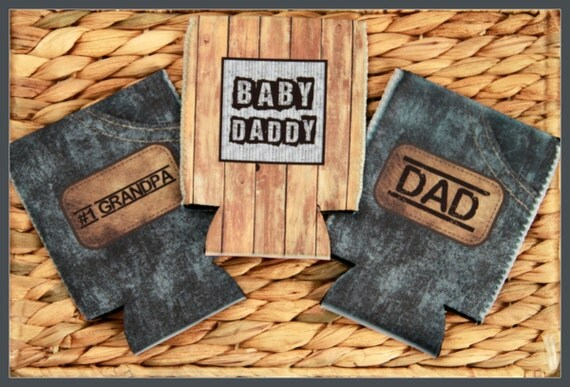 Baby Daddy Can Cooler Christmas Gifts for Dad & Grandpa Masculine Custom Can Insulator Personalized Beer Cozy Gifts for Him New Dad Gifts