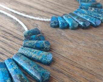 Aqua Sea Sediment Jasper Necklace
