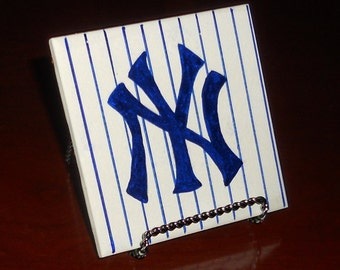 Hand Painted Yankees Tile Coaster