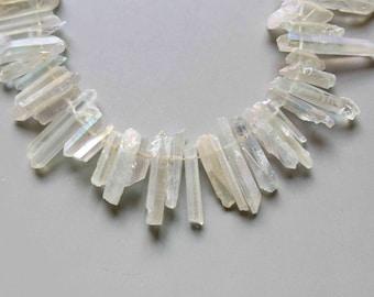 Full Strand Natural Raw Crystal Quartz Point Beads White Titanium Quartz B975