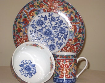 Imari Edo China - Cobalt Blue and Rust Floral Pattern