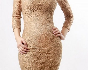 Taupe Lace body-con dress, with see through sleeves and deep scoop open back.
