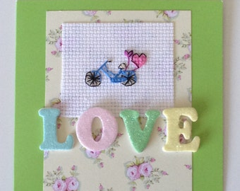 Cross stitch tiny Bike and balloons 'Love' card
