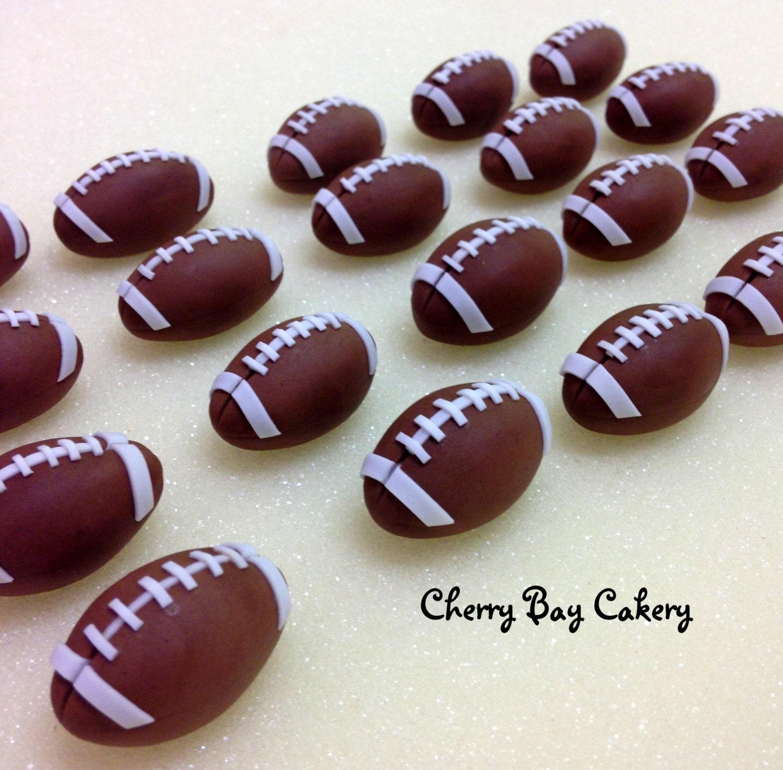 12 Fondant Football Cupcake Toppers Edible 3D