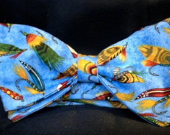 Bow tie with motif of fishing lures