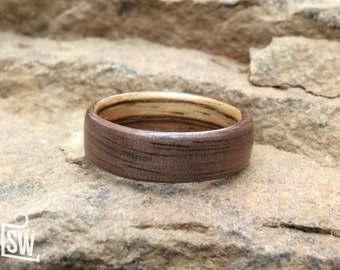 Walnut lined with Zebrawood Custom Bentwood Wooden Wedding Band