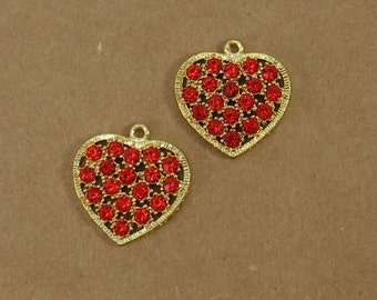 Heart Pendants, 4 Gold Heart Charm with Red Rhinestones, Crystal Heart Pendant, Item 484m