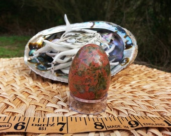 Unakite A grade Egg ~ One medium 30x45 mm Reiki infused gemstone (yoni) egg with stand (001)