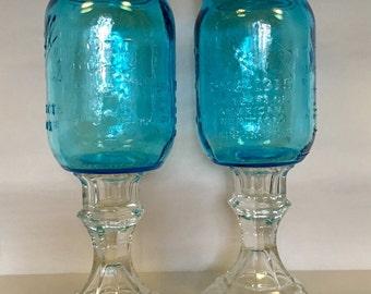 Blue Heritage Mason Jar Wine Glasses. Redneck Wine Glasses. Upcycled Jars.