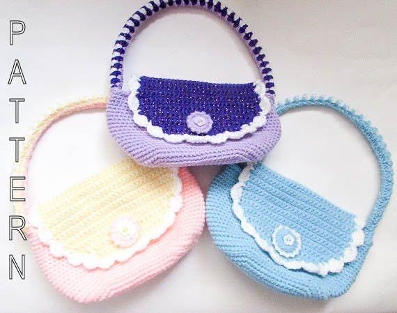 Crochet Clutch Bag Pattern : Crochet Pattern Girls Bag Girls Purse Childs by ...