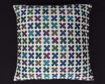 "Quatrefoil Emerald by Alexander Girard - Maharam - Mid-century Modern design accent pillow 17"" x 17"" feather/down insert included"