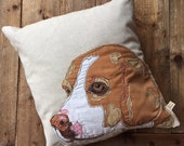 Beagle Portrait (tan & white) embroidered Square Cushion Cover with leaf print backing