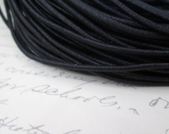 10 Yards Elastic Cord, ~2mm Black Elastic Cord,   Nylon Exterior Rubber Interior
