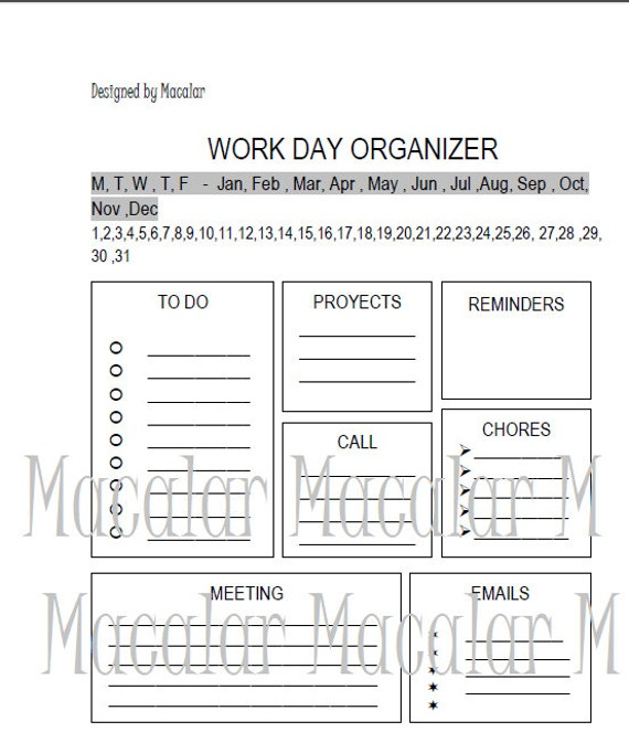 work day organizer a6 size printable a6 daily planner by