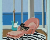 Mid Century Modern Eames Retro Limited Edition Print from Original Painting Beach Interior Stratocaster Dachshund