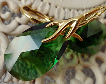 Forest Green Swarovski Earrings 24k Gold Plated Sterling Silver Fern Green Leaf Moss Green Crystal Dangle Earrings Golden Coral Drop