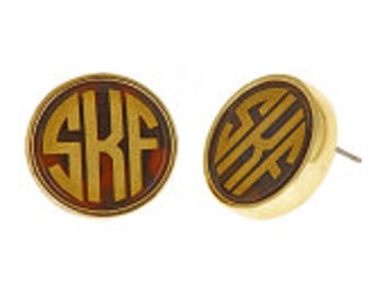 Monogrammed Tortoise Earrings - Stud Earrings