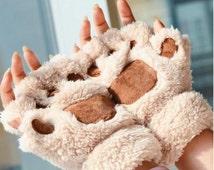 UK Free Shipping! Cute Cat Paw Gloves Fingerless Kawaii Plush Mittens