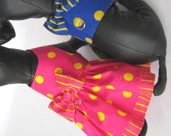 XSmall - Matching Dog Harness and Dress - Royal Blue Harness - Hot Pink Tiny Dog Dress - Puppy Harness Dress