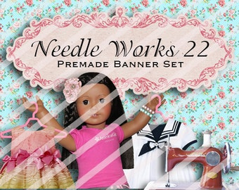 """Banner Set - Shop banner set - Premade Banner Set - Graphic Banners - Facebook Cover - Avatars - Bisiness Card - """"Needdle works 22"""""""