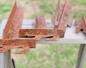 Angle Iron with Attached Flat Hooks - Rusty Angle Iron - Rusty Flat Hooks - Iron Art - Iron Scrap - Welding Iron - Bed Irons