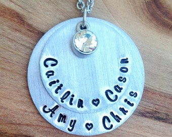 Mother or Grandmother Necklace - Mother's Day Gift - Gift for her - Custom Jewelry- Personalized- hand stamped - Mommy necklace -Anniversary